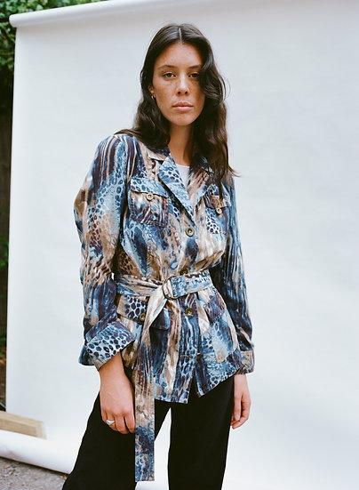 Vintage Faux Suede Jungle Printed Jacket