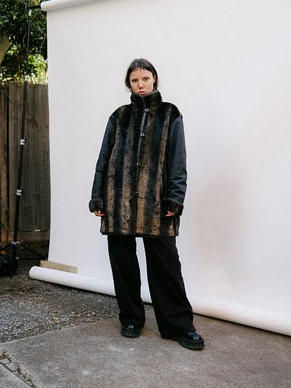Vintage 90's Reversible Faux Fur Parka Rain Jacket