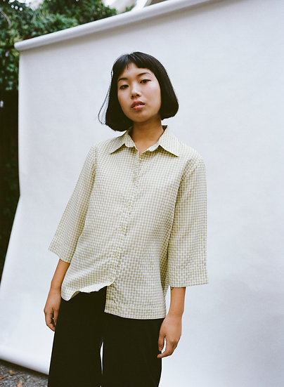 Vintage Gingham Boxy Button Up Shirt