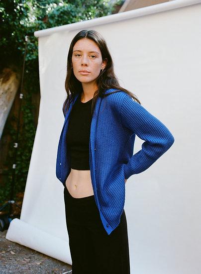 Vintage Australian Pure Wool Ribbed Knit Cardigan