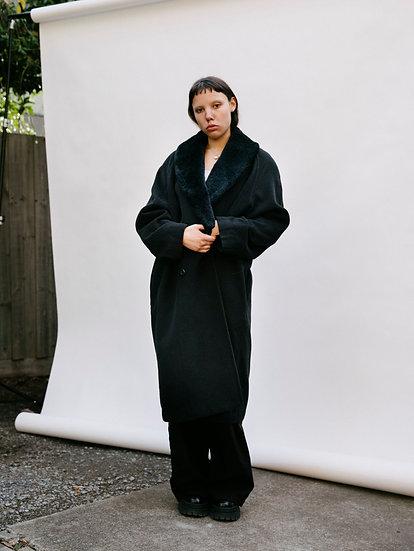 Vintage Katies 90's Woollen Detachable Faux Fur Collared Full Length Trench Coat