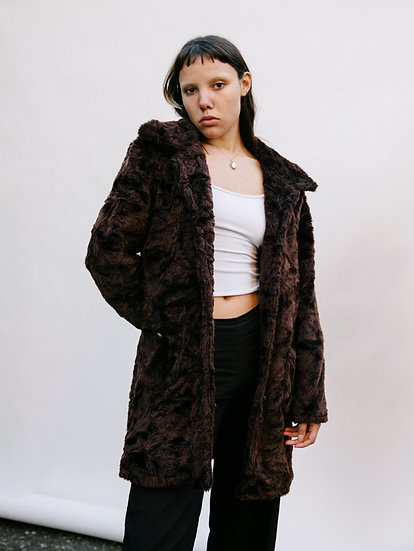 Vintage 90's CKM Faux Fur Trench Coat