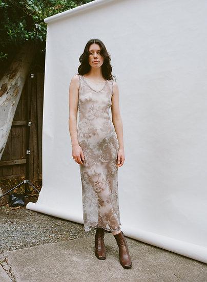 Vintage 90's Dotti Double Slip Printed Mesh Full Length Dress