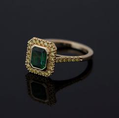 Toermalijn ring met diamant