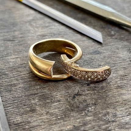 Oude geelgouden ring met diamant.