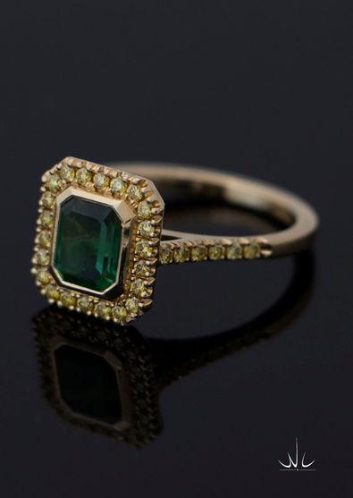Toermalijn ring met geel diamant