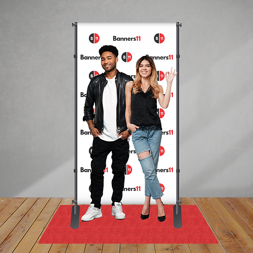 4' x 8' Step and Repeat Banner + Stand + Red Carpet