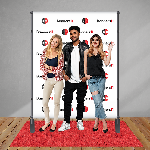 6' x 8' Step and Repeat Banner + Stand + Red Carpet