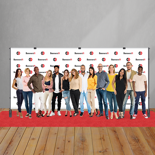 20' x 8' Fabric Step and Repeat Banner + Stand + Red Carpet