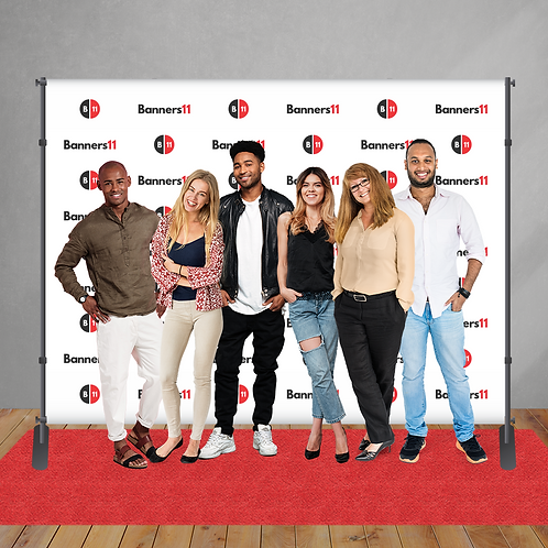 10' x 8' Fabric Step and Repeat Banner + Stand + Red Carpet