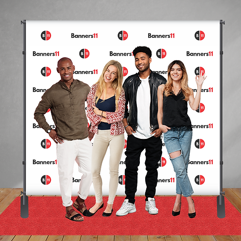 8' x 8' Fabric Step and Repeat Banner + Stand + Red Carpet