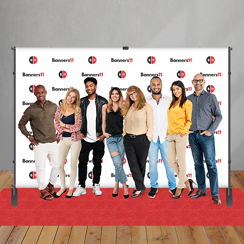 12' x 8' Fabric Step and Repeat Banner + Stand + Red Carpet