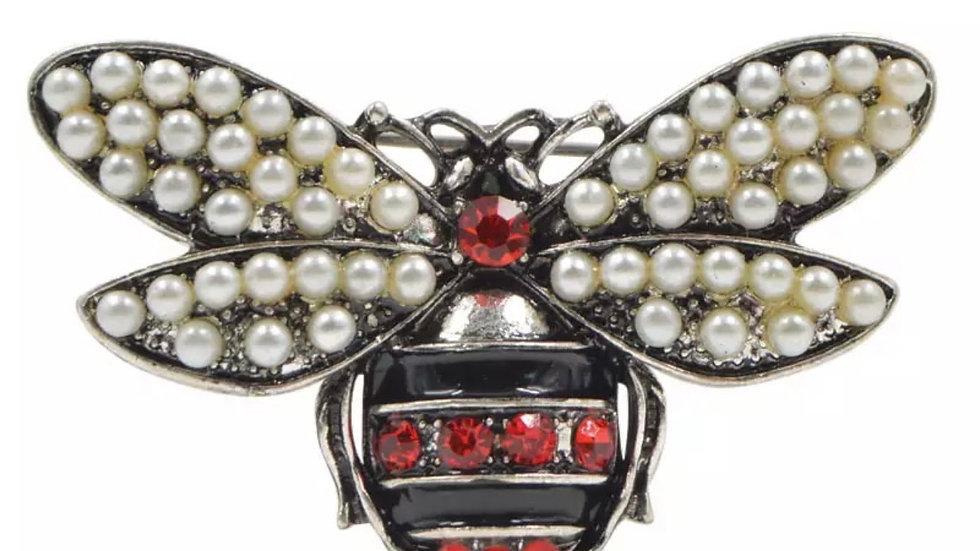 Silver Queen Bee Brooch