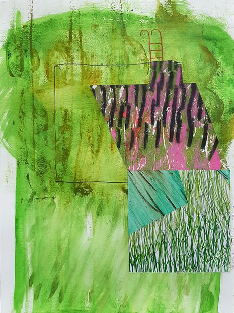 Façade Extérieur Nuit. Technique mixte sur papier découpé. 36x48.