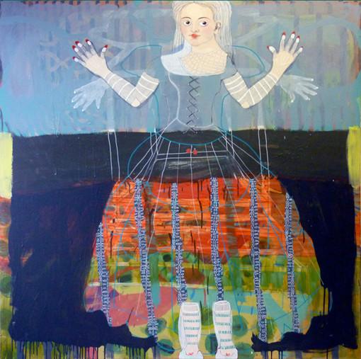 Manipulé e. Acrylique sur toile. 140 x 140