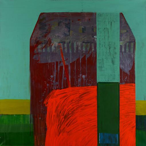 De part et d'autre.  Acrylique sur toile. 140 x 140