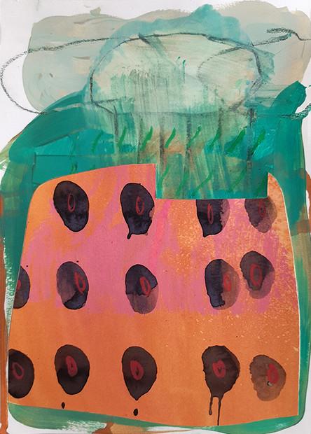 Infiltrations. Technique mixte sur papier découpé. 21x30.