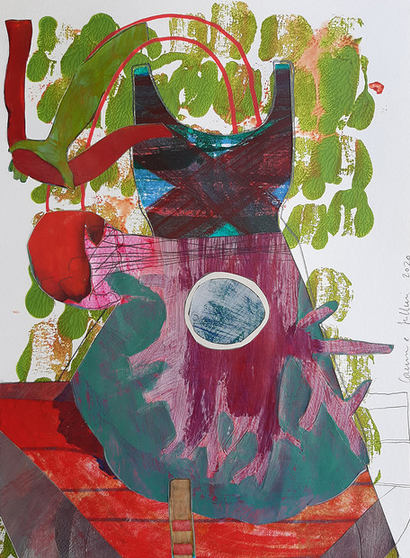 Le ruban rouge. Technique mixte sur papier découpé. 30x40.