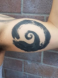 Ink Brushstroke Wave by Kyle  - Skintricate Tattoo Company