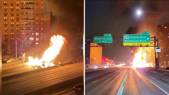 Truck Catches Fire on Queens, New York Expressway!