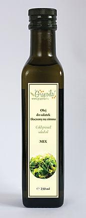 olej MIX do sałatek, blend, olej kukurydziany, olej słonecznikowy, olej konopny, olej lniany, nierafinowany tłoczony na zimno Grapoila