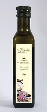 olej z maku, olej makowy, nierafinowany tłoczony na zimno Grapoila