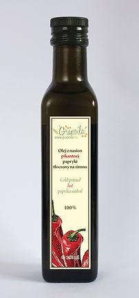olej z nasion ostrej pikantnej papryki nierafinowany tłoczony na zimno Grapoila, papryka węgierska ostra