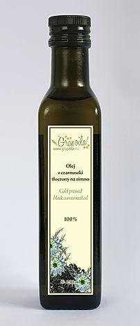olej z czarnuszki, nierafinowany tłoczony na zimno Grapoila