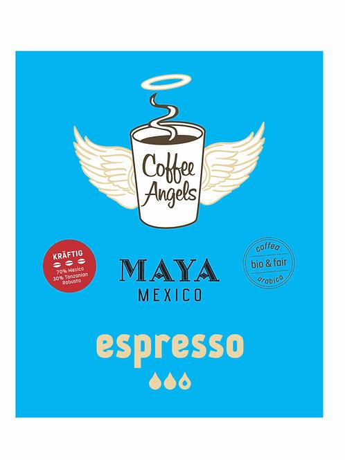 """CoffeeAngels Bio-Espresso """"kräftig"""" aus 70% Arabica und 30% Robusta"""