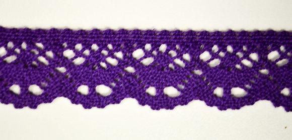 bavlněná krajka paličkovaná š.23mm fialová