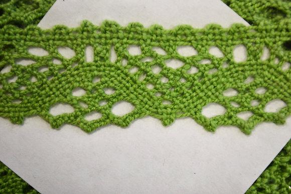bavlněná krajka paličkovaná š.25mm jasně zelená