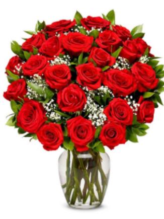 Valentine's Day 2 Dozen Red Rose Bouquet