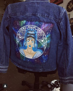 Mandala Moon Denim Jacket