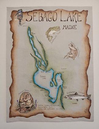 Sebago Lake, Maine Hand Illustrated Map