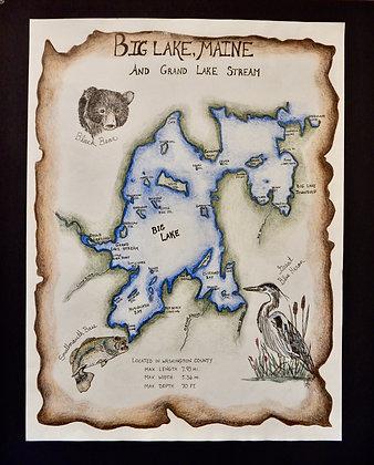 Big Lake, Maine Hand Illustrated Map