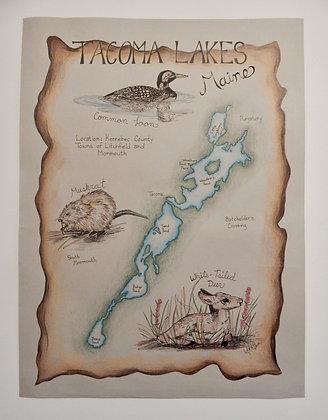 Tacoma Lakes, Maine Hand Illustrated Map