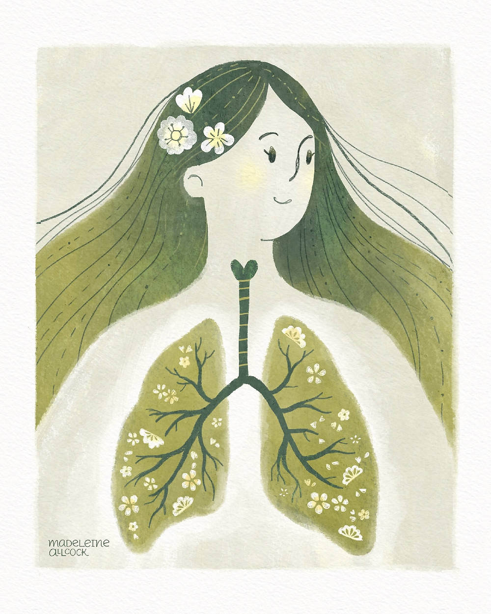 Illustration of a woman with green hair and lungs that look like trees