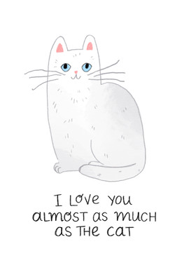 White Cat Card