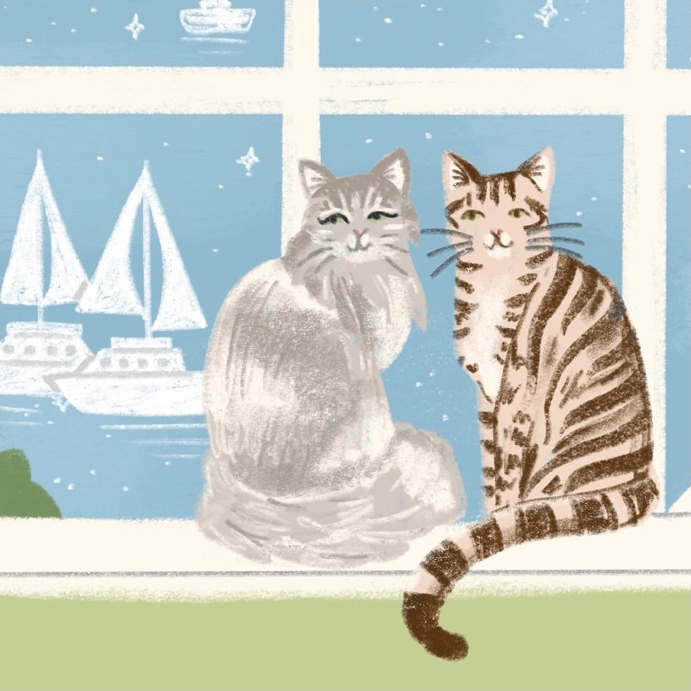 Tabby cats and sailboats
