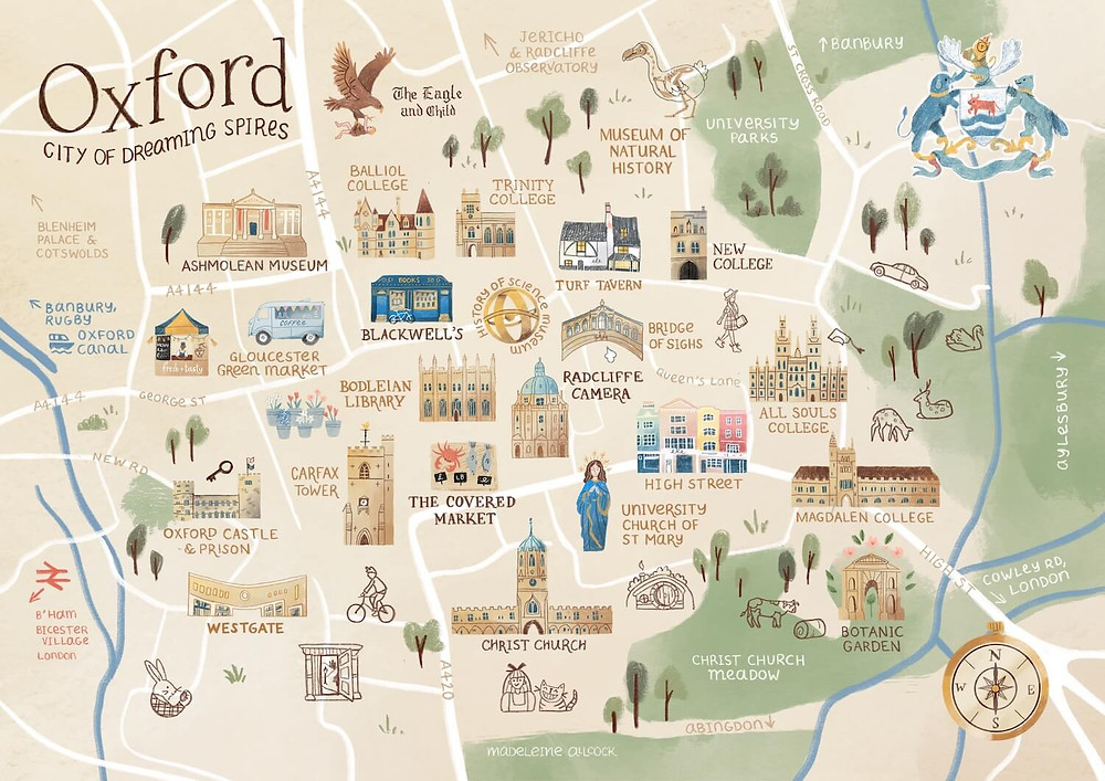 Illustrated map of the city of Oxford