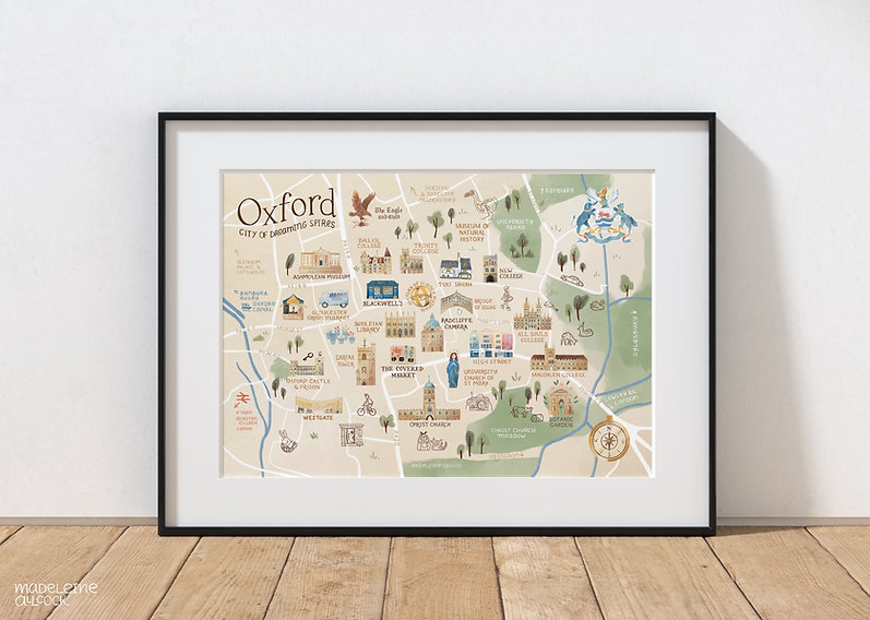 Oxford Map Print in a frame on a wooden floor