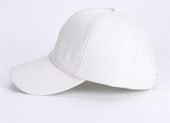 White Fuax Leather Cap
