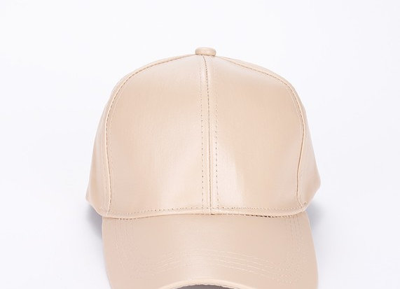 Beige Fuax Leather Cap