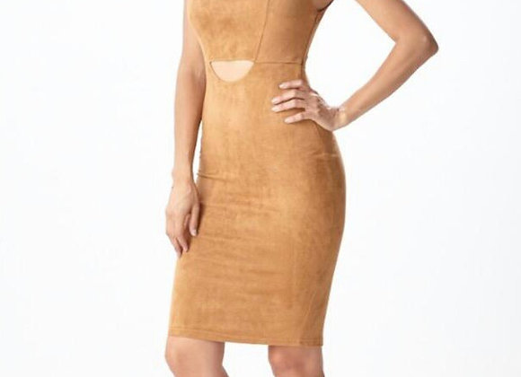 SUEDE CAMEL COLORED DRESS