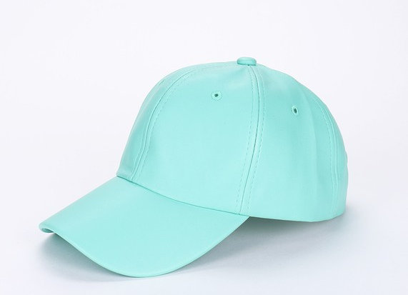 Mint Faux Leather Cap