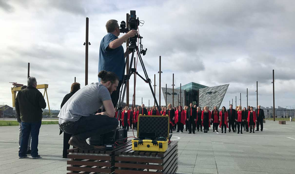 Filming BCGC Choir @ Titanic Belfast