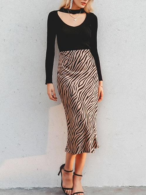 Zebra Silk Effect Pattern Skirt
