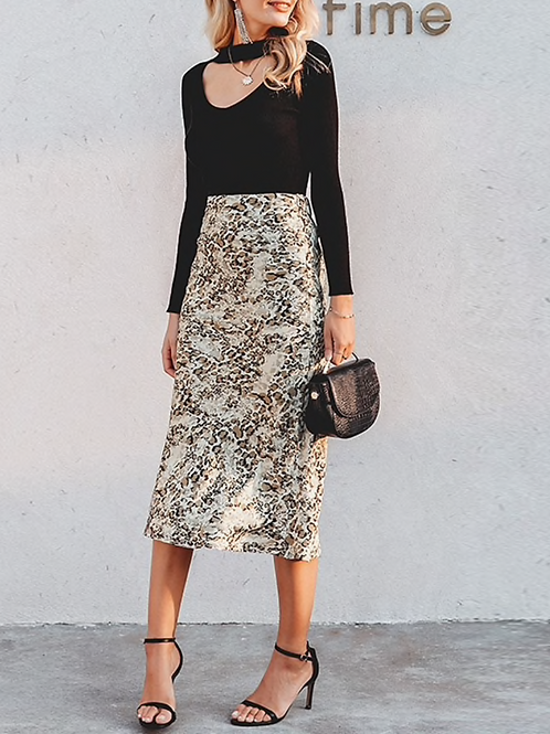 Silk Effect Pattern Skirt