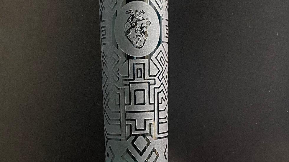 """Engraved Glass-Dark Green Heart Beaker 14"""""""
