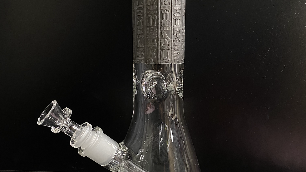 """Engraved-Egyptian Grey and Clear Beaker 13"""""""